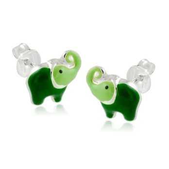Gioielli Baby & Kids Orecchini bimba con elefantino verde Alexia Gioielli