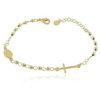 Bracciale a rosario argento dorato