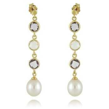 Orecchini pendenti in oro con perla e pietre dure