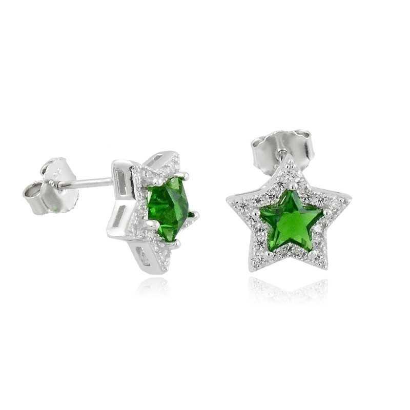 Orecchini Donna Orecchini a stella in argento e pietra verde Alexia Gioielli