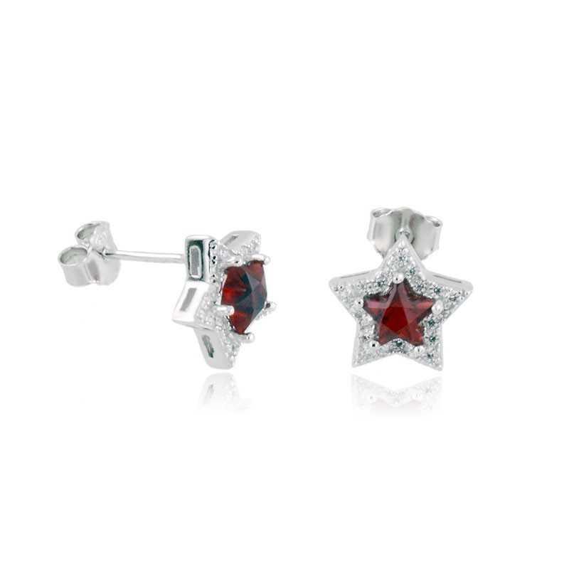 Orecchini Donna Orecchini a stella in argento e pietra rossa Alexia Gioielli
