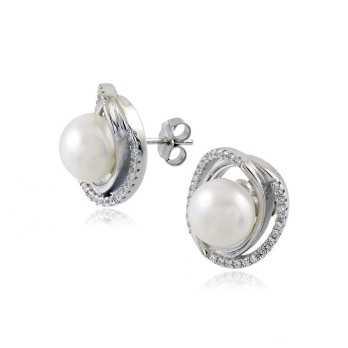 Orecchini a bottone con perla e pietre Alexia Gioielli Orecchini Perle RB-ORP35AG