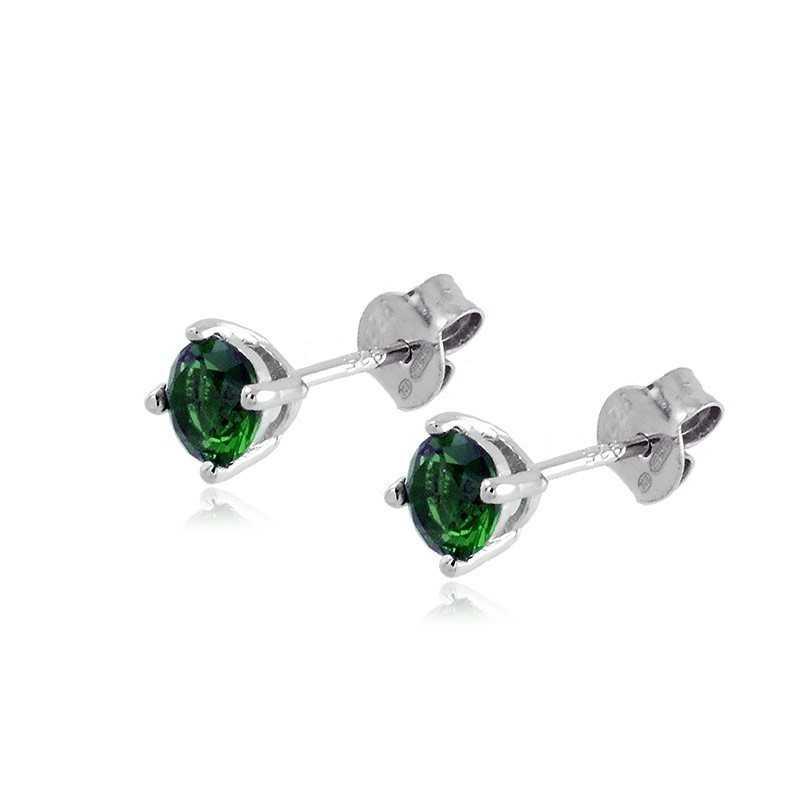 Orecchini argento con pietra verde 5mm Alexia Gioielli Home RB-OR6AGV