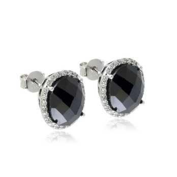 Orecchini in argento e pietra nera Orecchini Donna 19,00€