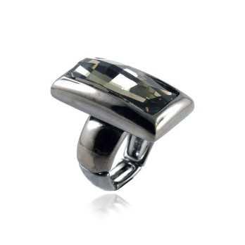 Promozioni Anello in metallo e cristallo nero Lizas jewellery