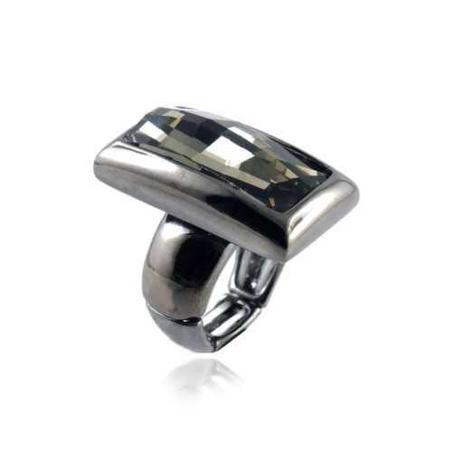 Anello in metallo e cristallo nero