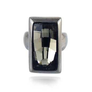 Anello in metallo e cristallo nero  Promozioni LZ-61892AN