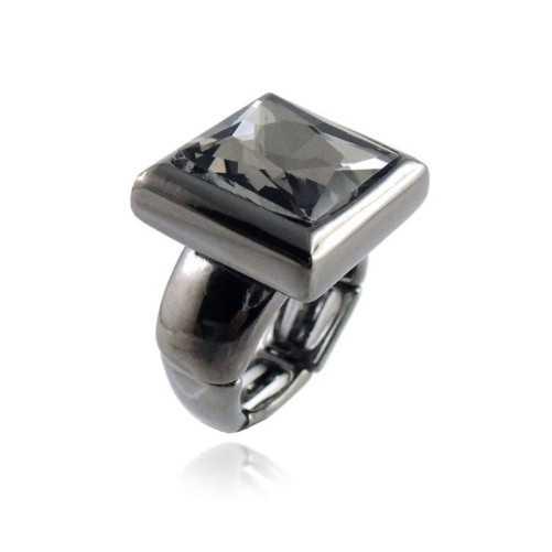 Anello in metallo e cristallo nero Lizas jewellery Promozioni LZ-61891AN