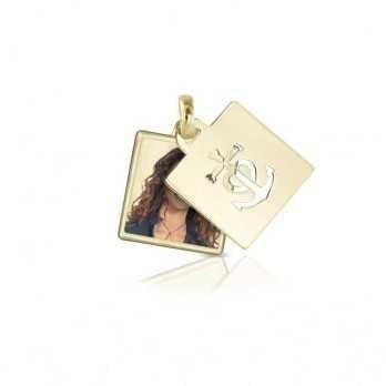 Medaglia portafoto in oro quadrata a colori  Portafoto a colori QCPS 28.1 AU