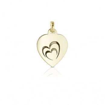 Medaglia portafoto in oro cuore incisa