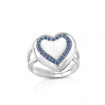 Anello medaglia portafoto a colori in argento cuore con pietre