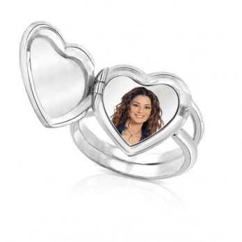 Anello medaglia portafoto a colori in argento cuore con pietre Medagliafoto Portafoto a colori CAPS 1.1 AG