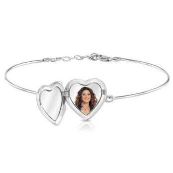 Bracciale medaglia portafoto a colori in argento cuore con pietre Portafoto a colori 140,00€