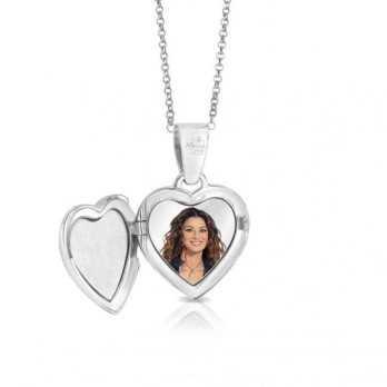 Collana medaglia portafoto a colori in argento cuore con pietre Portafoto a colori 140,00€