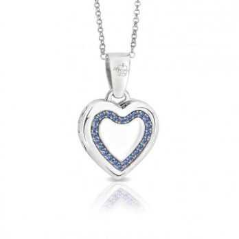 Collana medaglia portafoto a colori in argento cuore con pietre