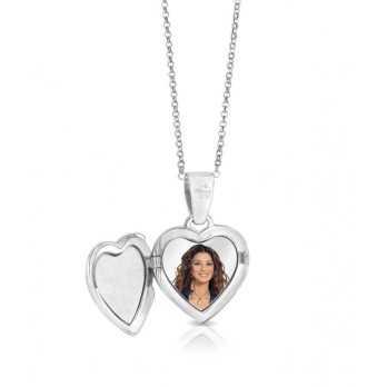 Collana medaglia portafoto a colori in argento cuore