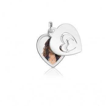 Medaglia portafoto a colori in argento cuore Medagliafoto Portafoto a colori CCPS 36.1 AG