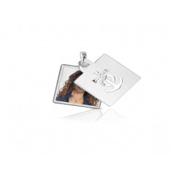 Medaglia portafoto a colori in argento quadrata Medagliafoto Portafoto a colori QCPS 28.1 AG