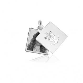 Medaglia portafoto in argento quadrata incisa Medagliafoto Portafoto a incisione QIPS 26.1 AG