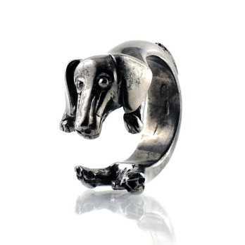 Anello cane in argento nero