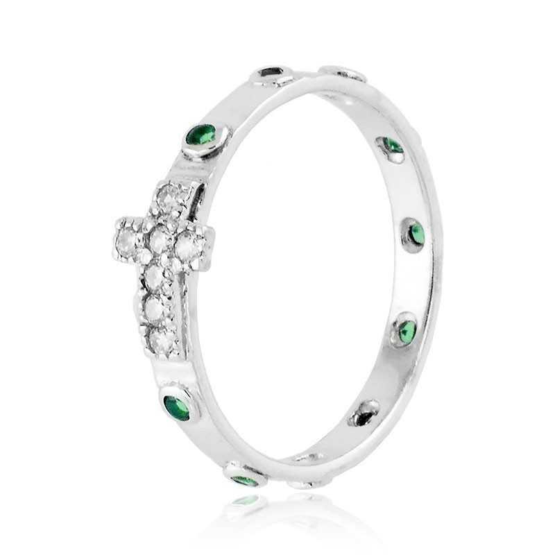 Anello a rosario con pietre verde in argento Alexia Gioielli Anelli religiosi RB150ANRV