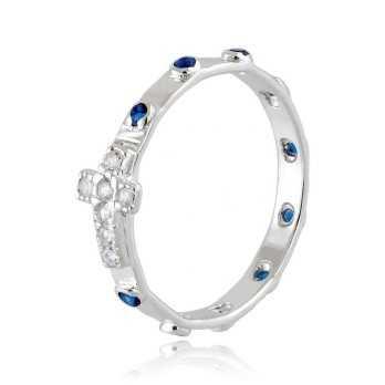 Anello a rosario con pietre blu in argento Alexia Gioielli Anelli religiosi RB150ANRB
