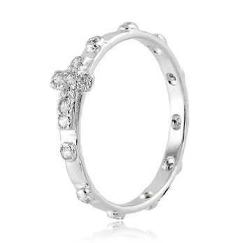 Anello a rosario con pietre bianche in argento Alexia Gioielli Anelli religiosi RB150ANR