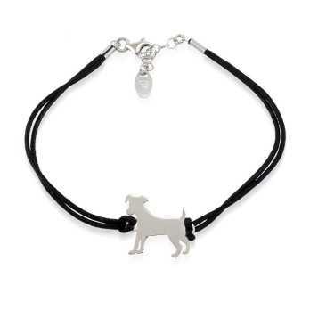 Bracciale con cane in argento e cordino nero Bracciali Uomo 28,00€