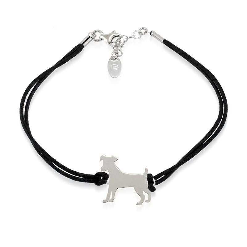 Bracciale con cane in argento e cordino nero Unoaerre Silver jewellery Bracciali Uomo 1R-AG998