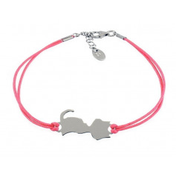 Bracciale con Gatto in argento e cordino rosa  Happy Pets 1R-AG999