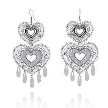 Orecchini Pendenti a cuore in bronzo argentato Byblos jewels Promozioni BB-9302