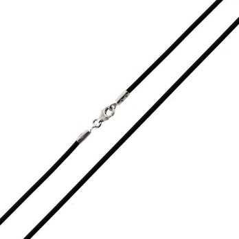 Collana in Caucciù e terminali argento 40cm Catene e catenine 5,00€