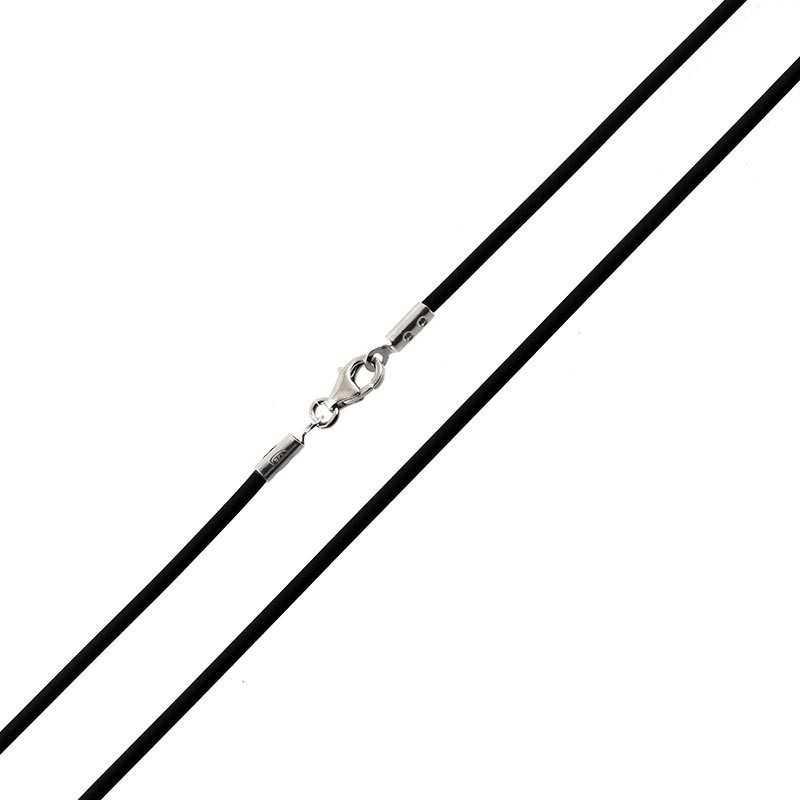 Collana in caucciù e terminali in argento 45cm Alexia Gioielli Catene e catenine RBCL2AGC45