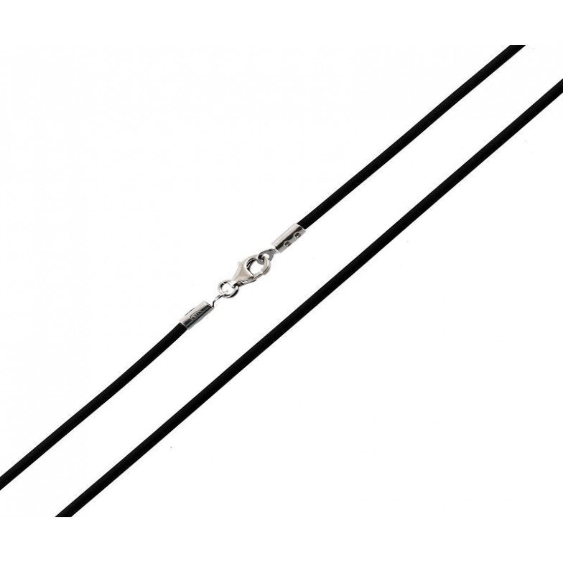 Collana in Caucciù e terminali argento 50cm Alexia Gioielli Catene e catenine RBCL2AGC50