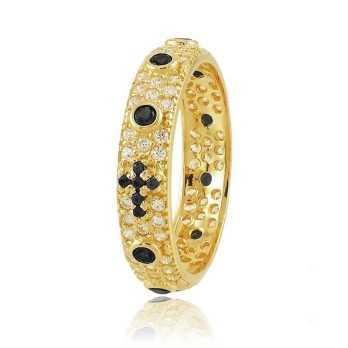 Anello a rosario dorato con pietre nere Alexia Gioielli Anelli religiosi RB-AG240ANRG