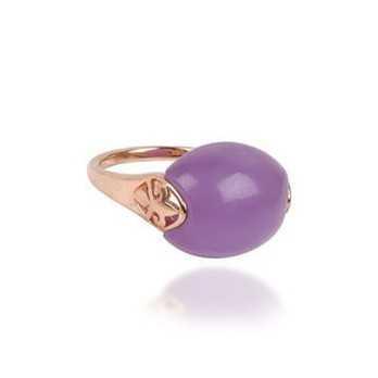 Anello in argento rosa con pietra viola