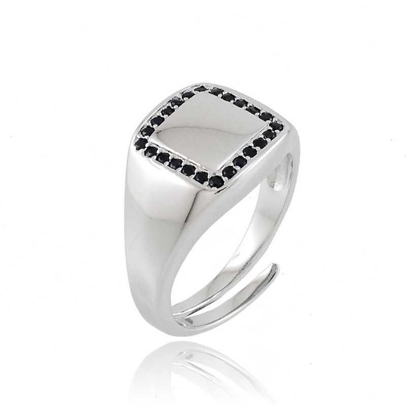 Anello da mignolo in argento e pietre nere Home 38,00€ product_reduction_percent