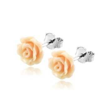Orecchini in argento con corallo a fiore rosa  Orecchini Perle RB-ORC5AGR