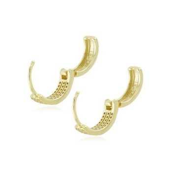Orecchini a cerchietto in argento dorato e pietre