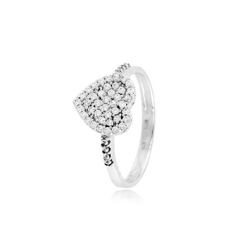 Anello a cuore in argento a pavè di zirconi Zoppi Gioielli bijoux Anelli Donna CM060AG