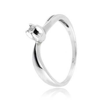 Anello solitario in argento e zircone Ct. 0,04  Anelli Donna CM006AG