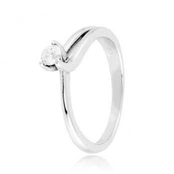Anello solitario argento e zircone Ct. 0,14  Anelli Donna CM019AG