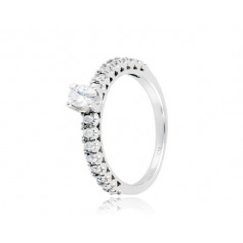 Anello solitario argento e zirconi Ct. 0,31  Anelli Donna CM021AG