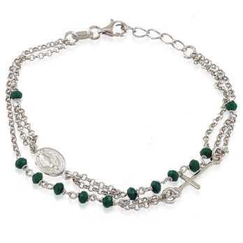 Bracciale a rosario e pietre verde  Bracciali religiosi RB-BR23AGR