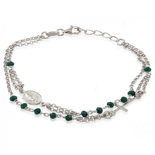 Bracciale a rosario e pietre verdeAlexia Gioielli Bracciali religiosi 24,00€ RB-BR23AGR