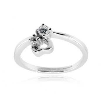 Anello con cuore in argento e pietre