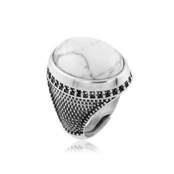 Anello uomo con pietra bianca ovale Zoppi Gioielli bijoux Anelli Uomo AN32AGO
