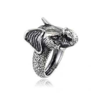 Anello testa di elefante in argento