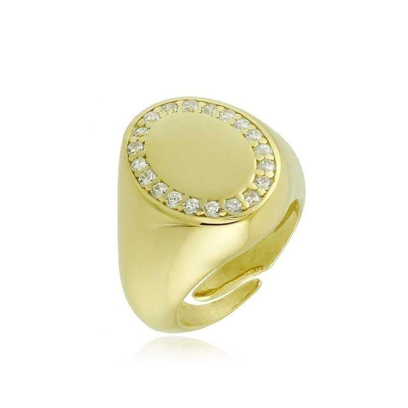 Anello da mignolo ovale in argento dorato e pietre Alexia Gioielli Home RB-AN35AGO