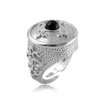 Anello medievale in argento e pietra nera Alexia Gioielli Anelli Uomo RB-Ag53U